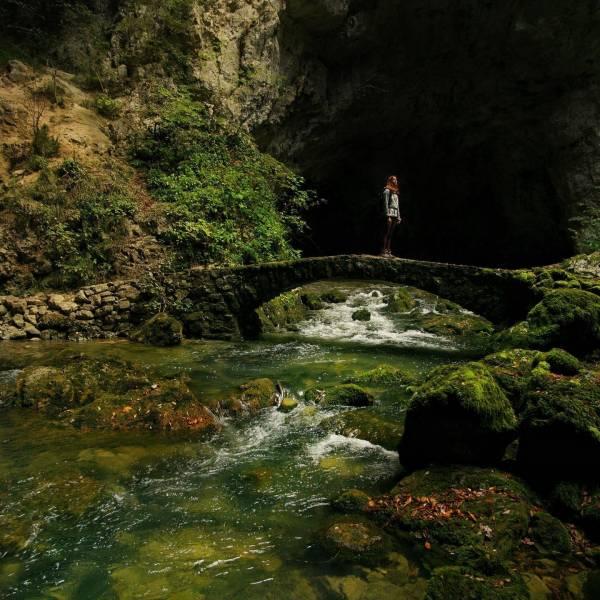 Stunning shades of green await you in Slovenia. Discover numerous adventures - Feel Slovenia!   Rakov Škocjan   #ifeelsLOVEnia #mojaslovenija #sloveniaoutdoor   Photo by @the_worldonwheels.