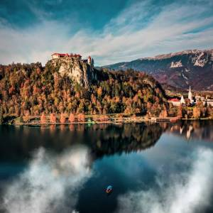 Bled Castle  according to written sources, the oldest castle in Slovenia.   Perched atop a steep cliff rising 130 metres.  Castle terraces offer spectacular views of the lake and the island. #ifeelsLOVEnia #mojaslovenija #staysafe #lakebled     Photo by @primoz_senk.