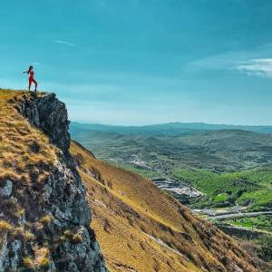 Standing on top of a mountain is my way.  Get inspired by #hiking adventures in the BIO link.    Nanos  #ifeelsLOVEnia #myway #mojaslovenija #sloveniaoutdoor  Photo by @strawberryandbliss.
