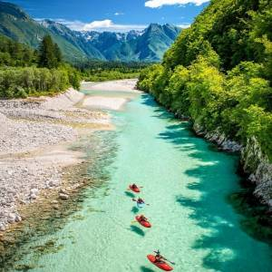 The river Soča is one of the alpine gems and a true delight for white water kayakers.  Thanks @auerimages for sharing your photo with #ifeelsLOVEnia.