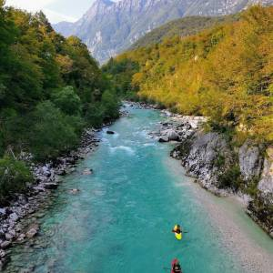 The Soča River is a popular European kayaking destination. Offering varying levels of difficulty (from I to V), the rapids are suitable for beginners as well as advanced kayakers who prefer a technically demanding course.   #ifeelsLOVEnia #mojaslovenija #socavalley  Photo by @adamjando.