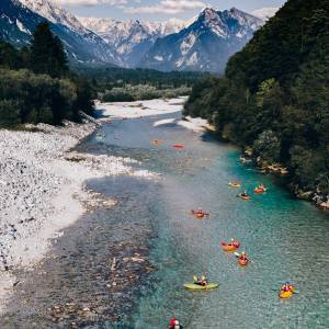 The crystal-clear waters of Slovenia's rivers  are beautiful to look at and even more fun to play in. Treat yourself to an adventure along and on the rivers. ♀️  Soča   #ifeelsLOVEnia #mojaslovenija #sloveniaoutdoor #socavalley  Photo by @nusafeltrin.