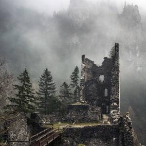 Misty Castle   Grad Kamen. Can you imagine how many centuries are written in these walls?    Castle Kamen (12th century) is situated in the village Begunje on the narrow passage, which closes valley of Draga. From the former powerful castle, only ruins remained.   #ifeelsLOVEnia #mojaslovenija #staysafe #sloveniaculture  Photo by @dreamypixels