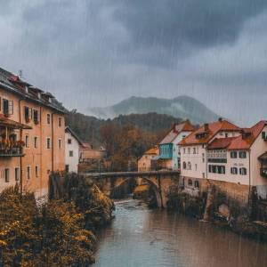 Moody Škofja Loka • Fairtytale view at the medieval treasure in Central Slovenia. #ifeelsLOVEnia #mojaslovenija #staysafe   Photo by @marushakovach.