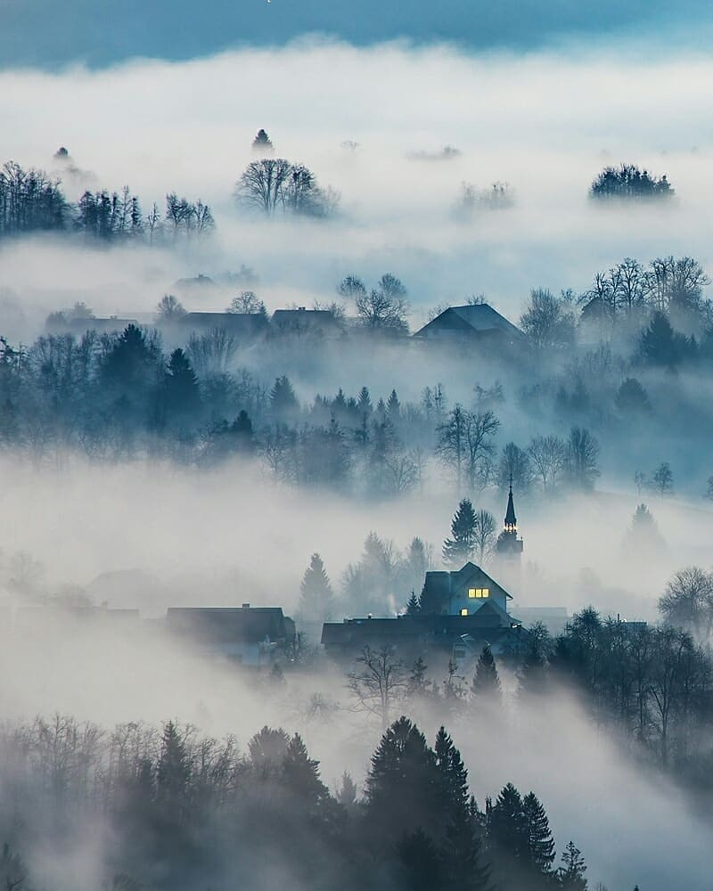 Ribno village wrapped in mysterious mist. Beautiful capture of nature creating magic.  Thanks @jostgantar for sharing your photo with #ifeelsLOVEnia.