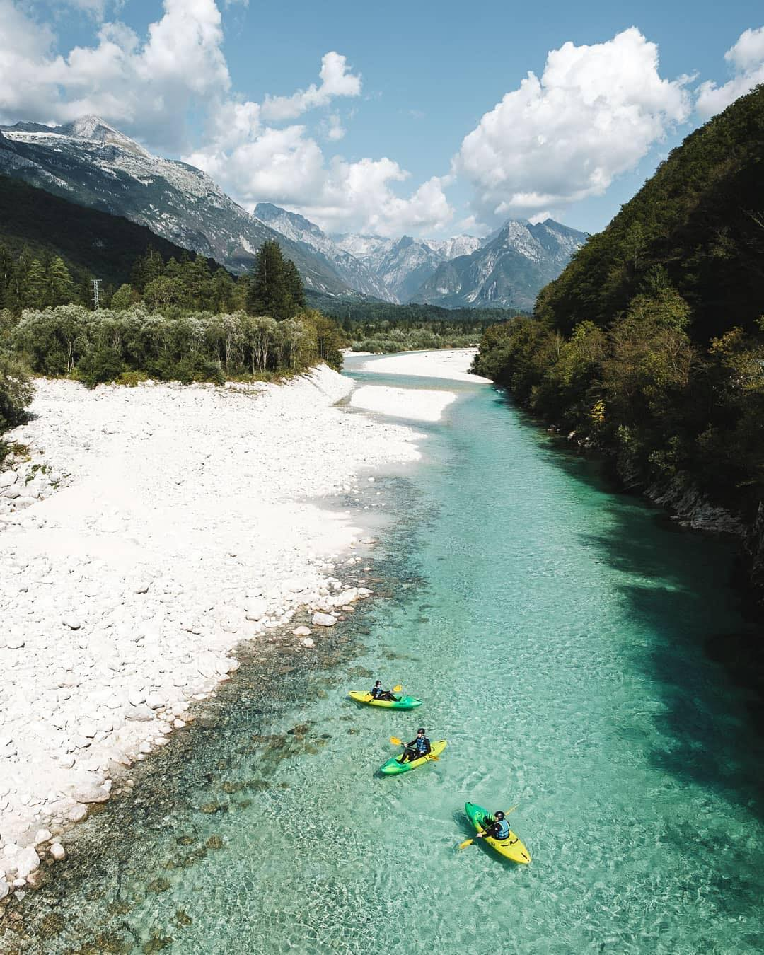 What could be more exciting than kayaking in one of the most beautiful Alpine rivers?  This very clean alpine river Soča is surely one of the must see places in our lovely land. Its source lies in the Trenta Valley in the Julian Alps in northwestern Slovenia. With such turquoise color it is one of the most beautiful rivers in Slovenia.  Keep it clean!  Thanks @allaperto for sharing your photo with #ifeelsLOVEnia.