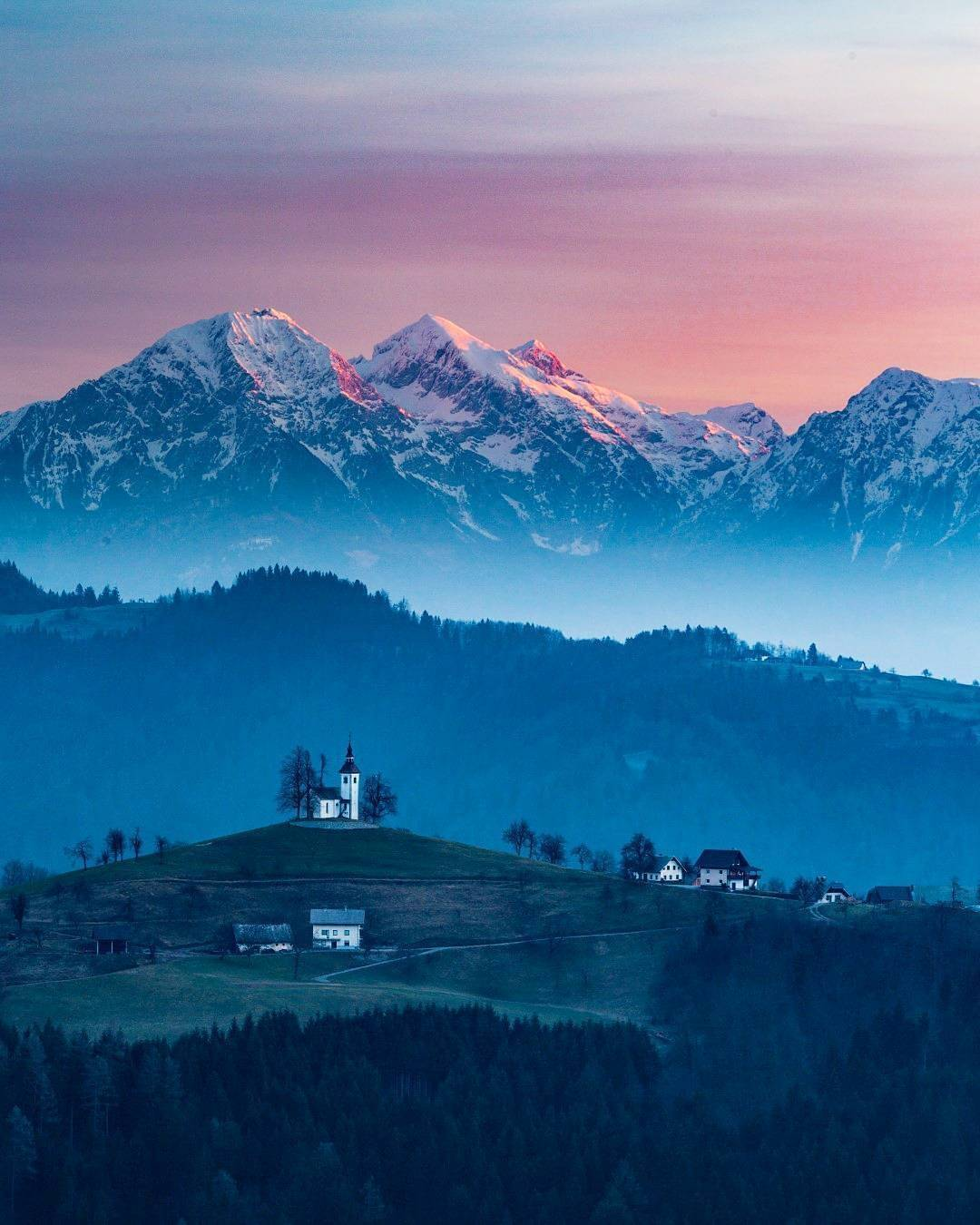 One of the most photographed churches in Slovenia.  St. Thomas (Sv. Tomaž) above Praprotno.  Thanks @beware_of_the_sloth for sharing your photo with #ifeelsLOVEnia.