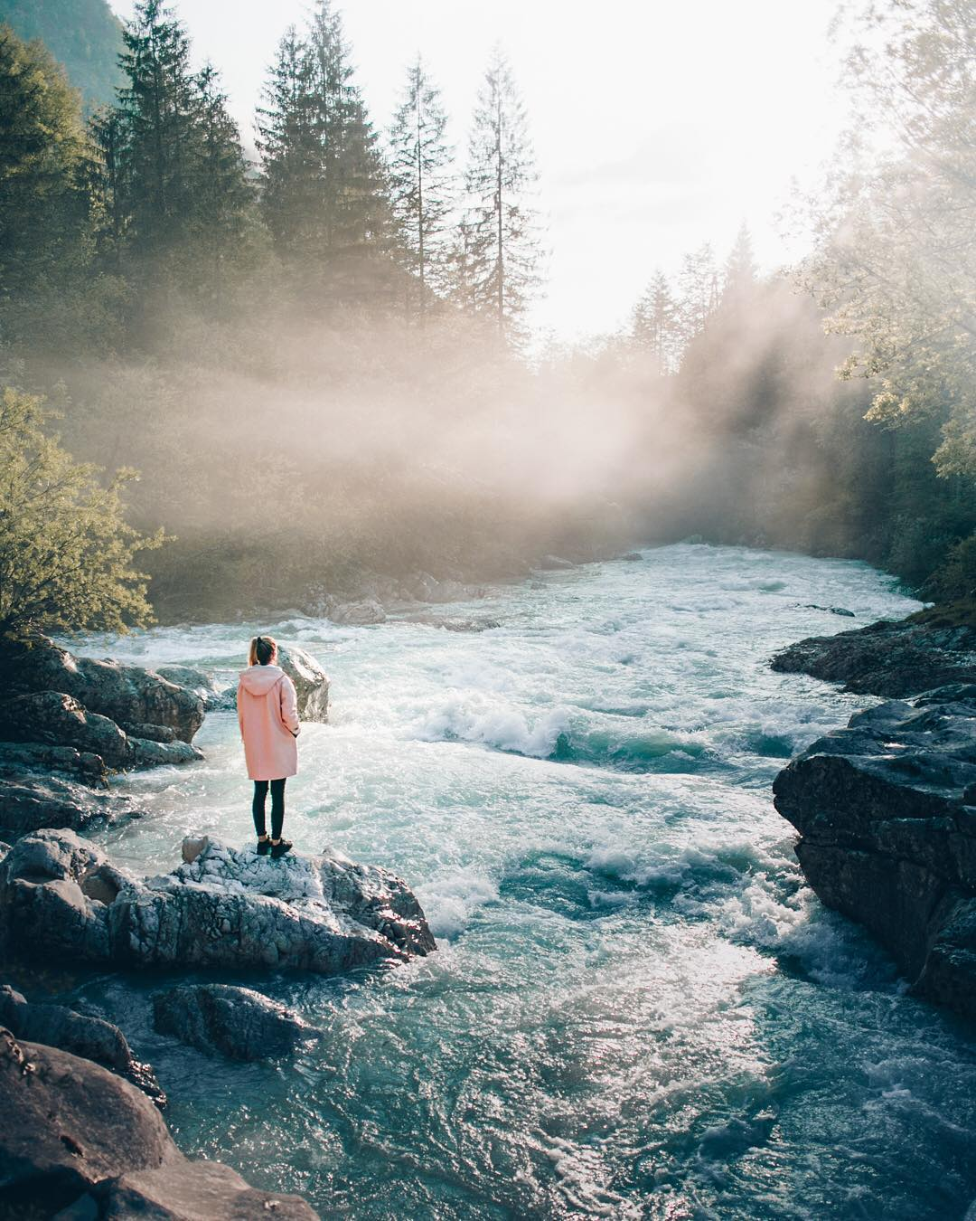 This is our last post on here, but there are much more pictures on our feeds if you are still seeking inspiration :) This one was taken on an early misty morning in the picturesque Soca Valley. This river makes the perfect getaway for an adventures weekend, trust me on this.  It was a pleasure to share some of our work here! Till next time! @lukas_pousset, @manuela_palmberger and @ibdansch #ifeelslovenia #makenewmemories • • • • • • • #skofjaloka#igslovenia #slovenia_ig #sloveniawithlove #slovenia360 #thisisslovenia #visitslovenia #slovenia #topsloveniaphoto #suspensionbridge #tourism #beautifuldestinations #woowvisuals #artofvisuals #traveleurope #travel #backpack #roadtrip #destinationideas #skofja #town