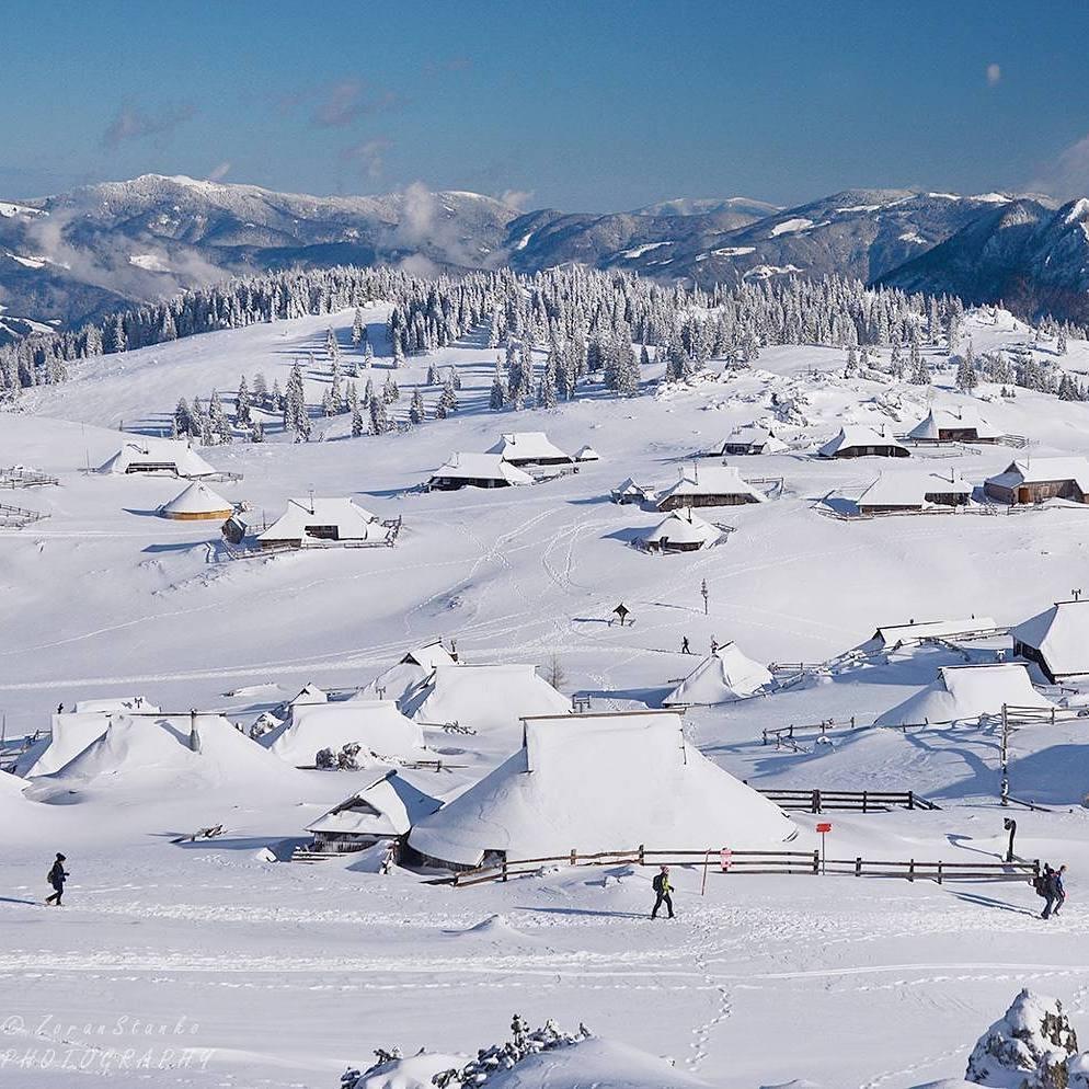 Winter  fairytale at Velika Planina, a scenic high mountain plateau.  Thanks @planinezovu for sharing your photo with #ifeelsLOVEnia.
