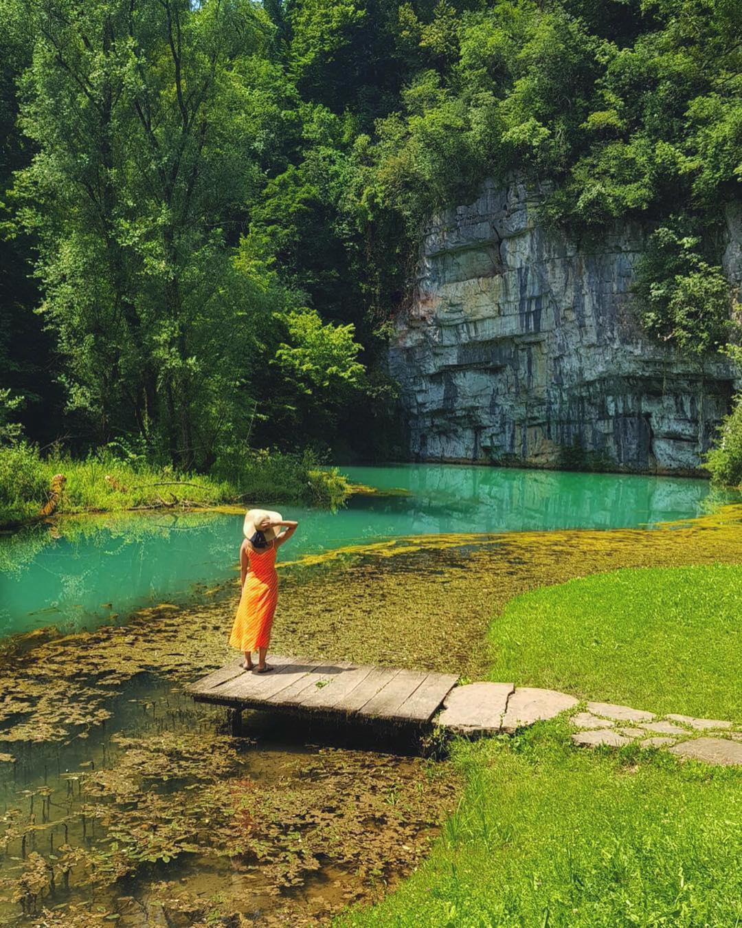 With its diversity, Slovenia is a land of many peaceful green spots to rest your mind. . The Krupa is a 2.5 km (1.6 mi) river in Bela Krajina - White Carniola, southeastern Slovenia. Its source is a karst spring in the village of Krupa below a rock wall.  . Thanks @thewanderlustwithin for sharing your photo with #ifeelsLOVEnia.