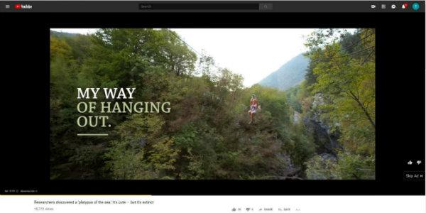 Primer YouTube oglasa