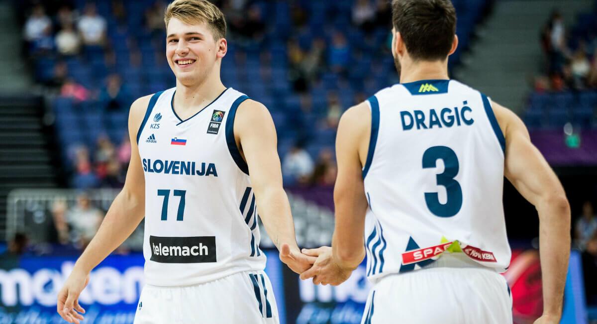 Luka Doncic in Goran Dragic v NBA